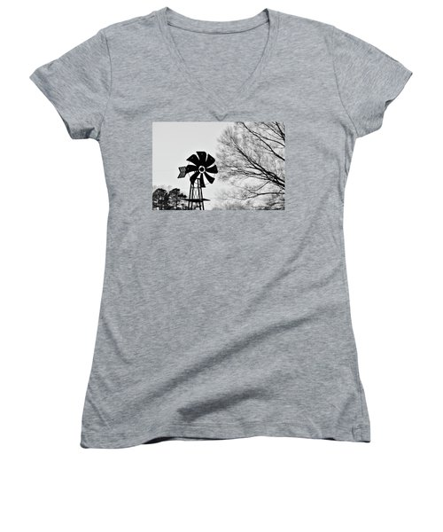 Windmill On The Farm Women's V-Neck