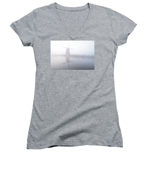 Women's V-Neck T-Shirt (Junior Cut) featuring the photograph Windmill Reflection by Phyllis Peterson