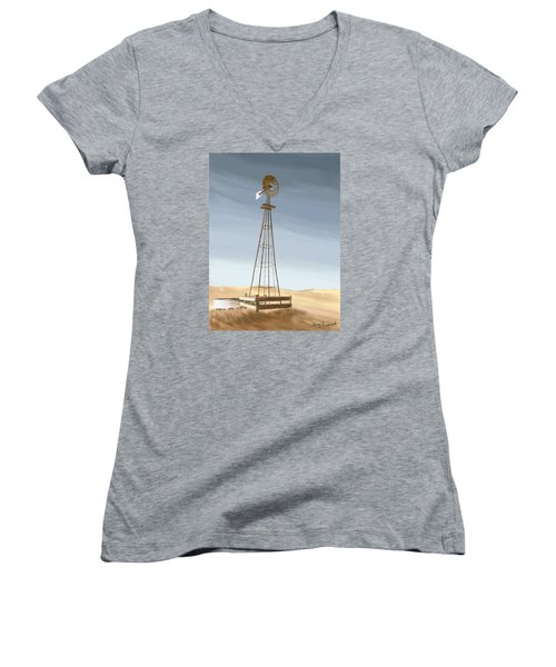 Windmill Women's V-Neck T-Shirt (Junior Cut) by Terry Frederick