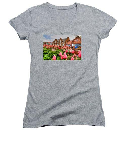 Women's V-Neck T-Shirt (Junior Cut) featuring the photograph Windmill Villa by Robert Pearson