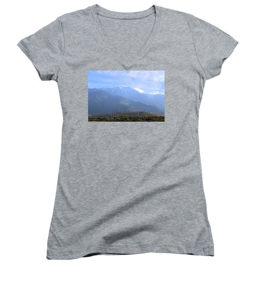 Windmills At San Jacinto Mt Women's V-Neck T-Shirt