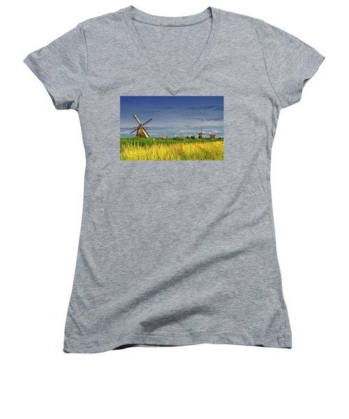 Windmills In Kinderdijk, Holland, Netherlands Women's V-Neck T-Shirt (Junior Cut) by Elenarts - Elena Duvernay photo
