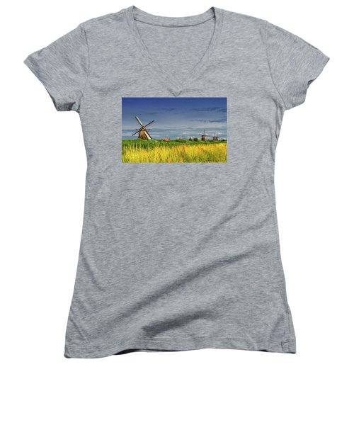 Windmills In Kinderdijk, Holland, Netherlands Women's V-Neck T-Shirt