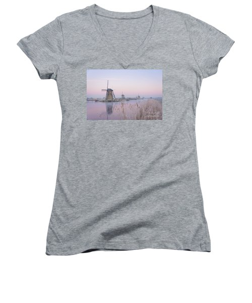 Windmills In The Netherlands In The Soft Sunrise Light In Winter Women's V-Neck (Athletic Fit)