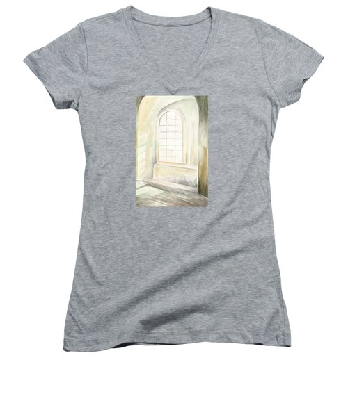 Women's V-Neck T-Shirt featuring the painting Window by Darren Cannell