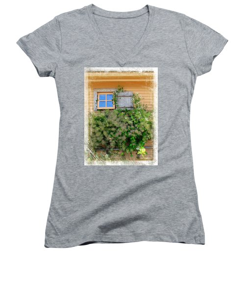 Women's V-Neck T-Shirt (Junior Cut) featuring the photograph Window Floral In Plymouth by Joan  Minchak