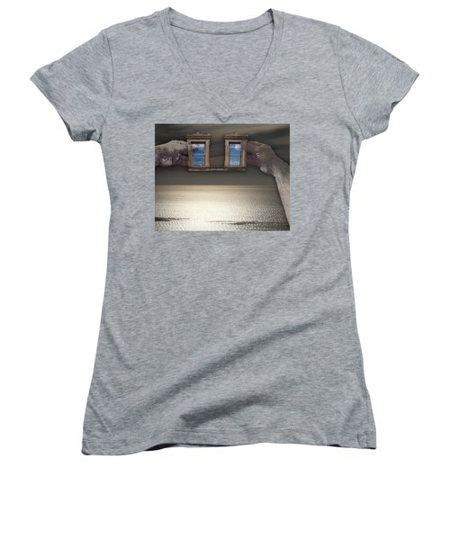 Women's V-Neck T-Shirt (Junior Cut) featuring the photograph Window Hands by Christopher Woods