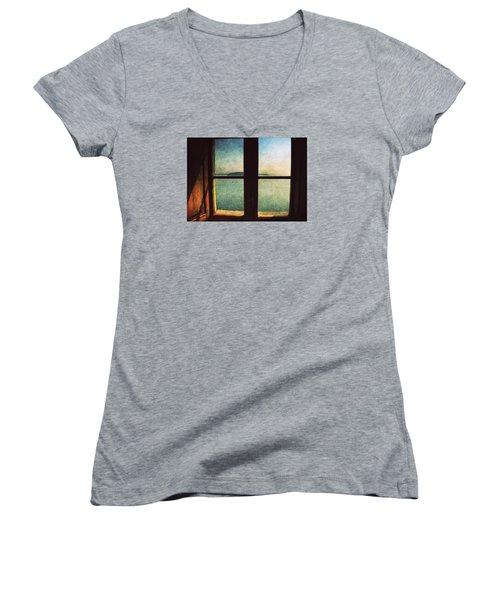 Window Overlooking The Sea Women's V-Neck T-Shirt (Junior Cut) by Vittorio Chiampan