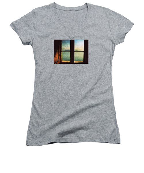Window Overlooking The Sea Women's V-Neck (Athletic Fit)