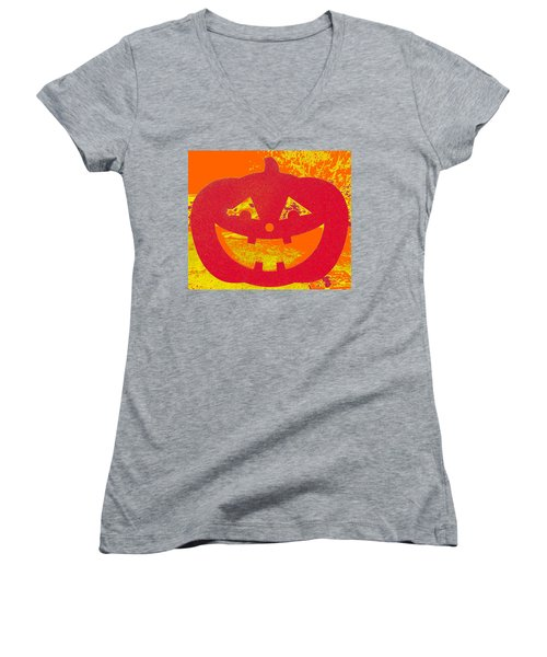 Window Pumpkin #4 Women's V-Neck