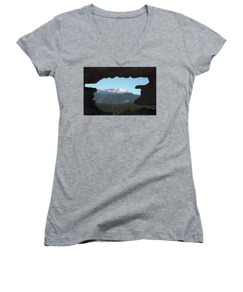 Window To Pikes Peak Women's V-Neck (Athletic Fit)