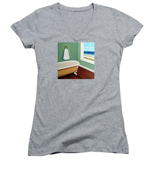 Window To The Sea No. 4 Women's V-Neck T-Shirt (Junior Cut) by Rebecca Korpita