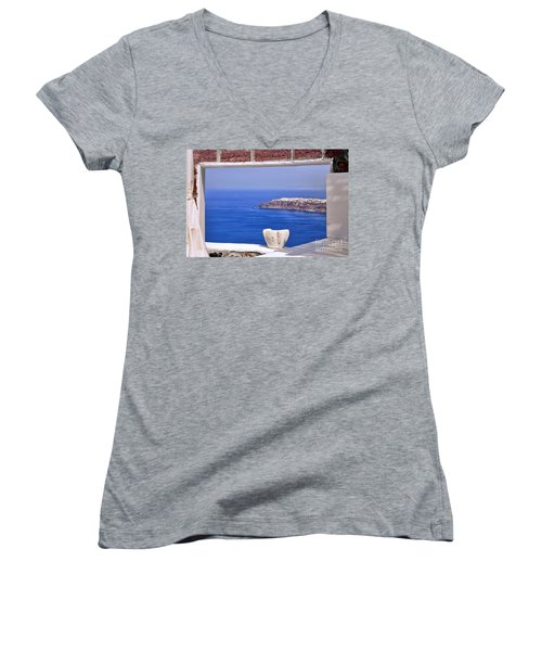Window View To The Mediterranean Women's V-Neck (Athletic Fit)