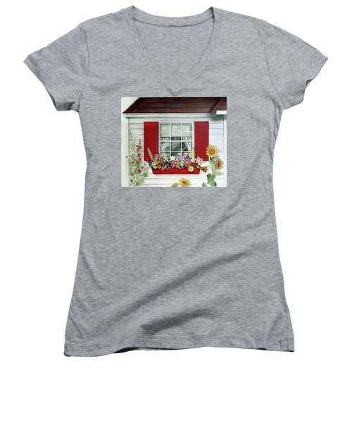 Windowbox With Cat Women's V-Neck T-Shirt (Junior Cut) by Bonnie Siracusa