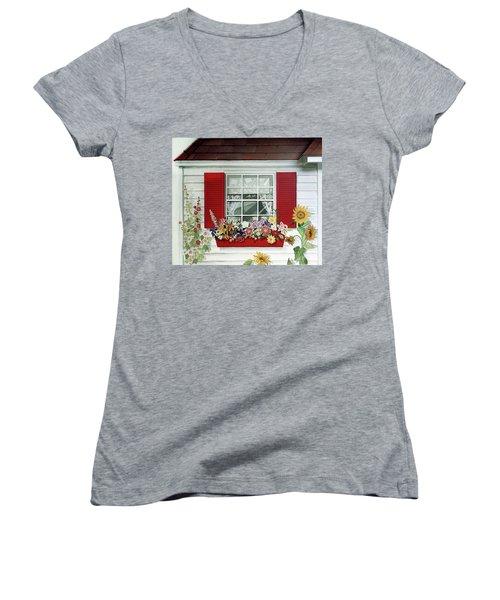 Windowbox With Cat Women's V-Neck T-Shirt