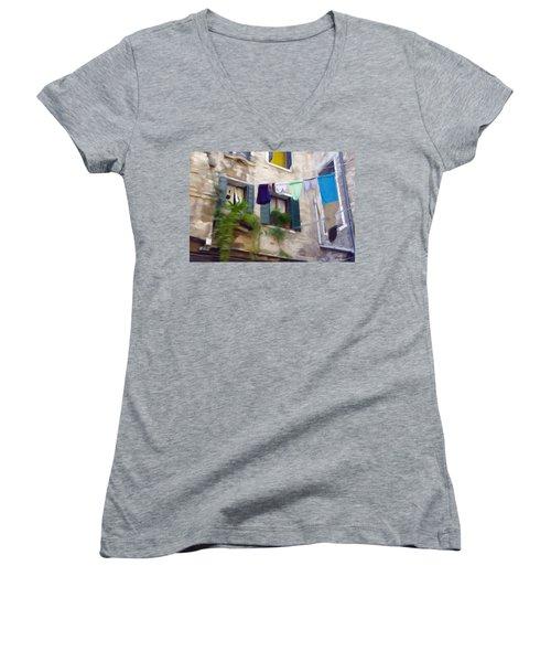 Windows Of Venice Women's V-Neck T-Shirt (Junior Cut) by Jeff Kolker