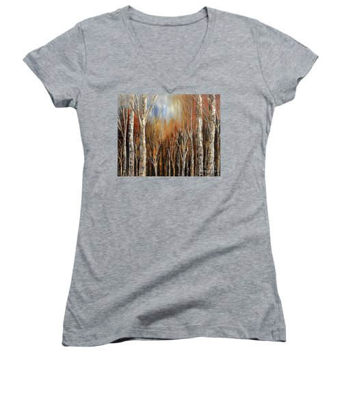 Winds Of Autumn Women's V-Neck T-Shirt (Junior Cut) by Tatiana Iliina