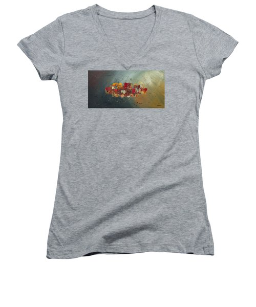 Women's V-Neck T-Shirt (Junior Cut) featuring the painting Winds Of Prosperity by Carmen Guedez