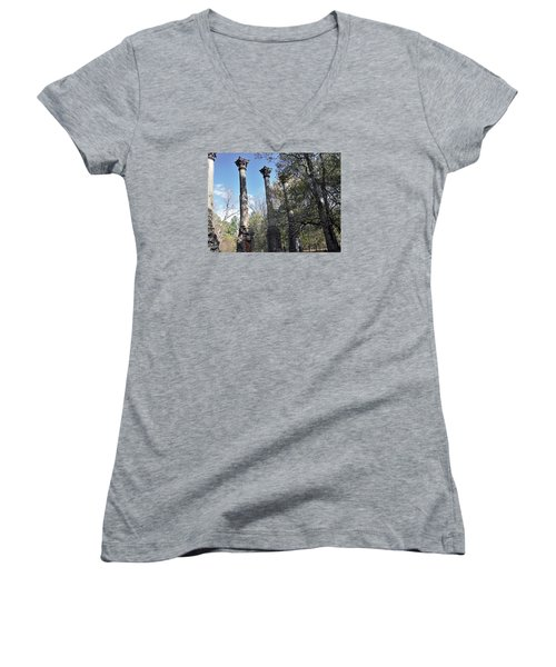 Windsor Ruins Women's V-Neck T-Shirt (Junior Cut) by Helen Haw