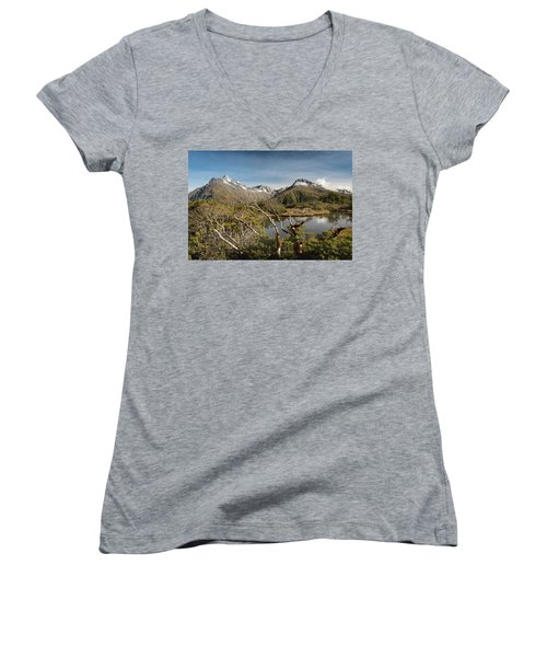 Women's V-Neck T-Shirt featuring the photograph Windswept Branches On Key Summit by Gary Eason