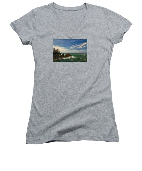 Windswept Day Women's V-Neck T-Shirt (Junior Cut) by Tom Kelly