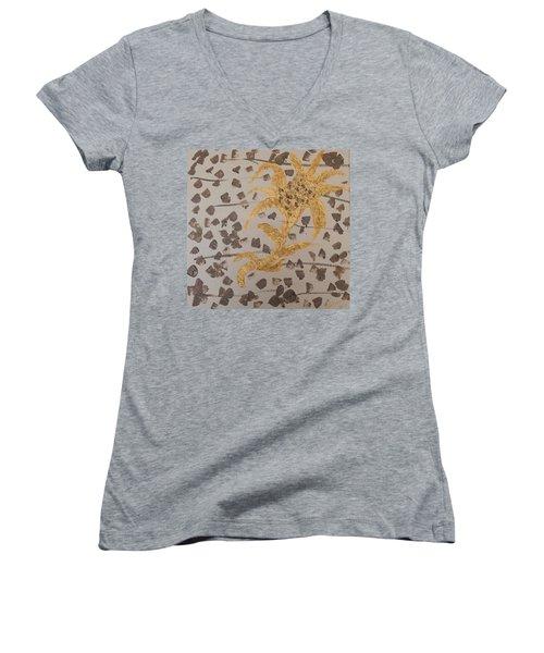 Windswept Golden Plantae #4 Women's V-Neck T-Shirt (Junior Cut) by Rachel Hannah
