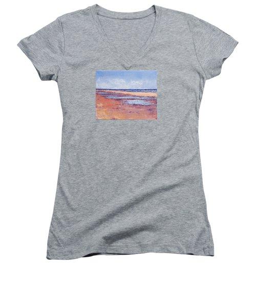Windy October Beach Women's V-Neck T-Shirt (Junior Cut) by Trina Teele