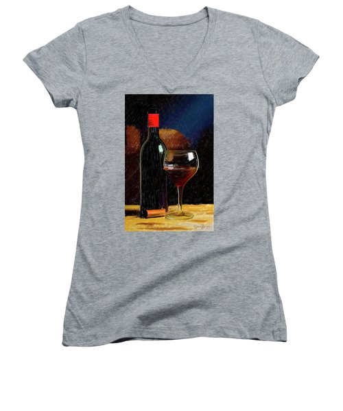 Wine Cellar 01 Women's V-Neck T-Shirt (Junior Cut) by Wally Hampton
