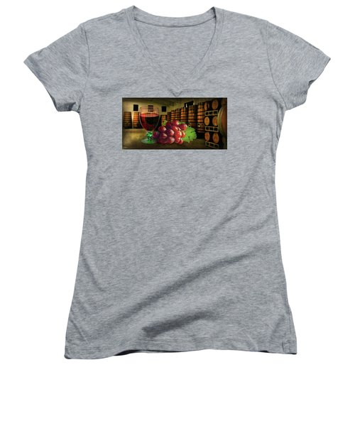 Women's V-Neck T-Shirt featuring the photograph Wine Tasting by Hanny Heim