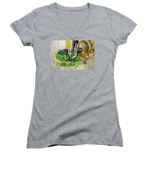 Women's V-Neck featuring the painting Wine Tasting by Harry Warrick