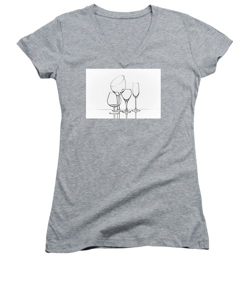 Wineglass Graphic Women's V-Neck T-Shirt (Junior Cut) by Tom Mc Nemar