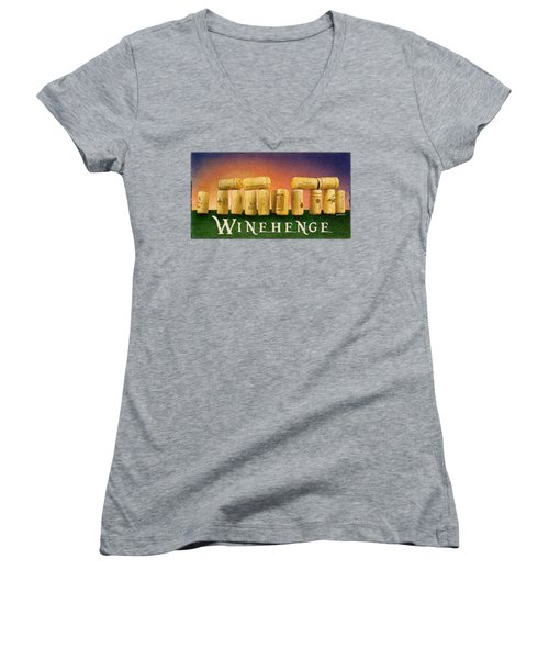 Women's V-Neck T-Shirt (Junior Cut) featuring the painting Winehenge by Will Bullas