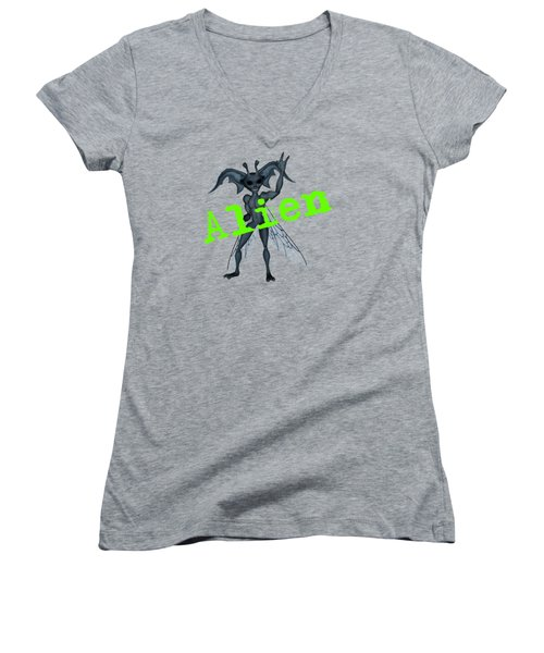 Winged Alien Peace Out Women's V-Neck T-Shirt