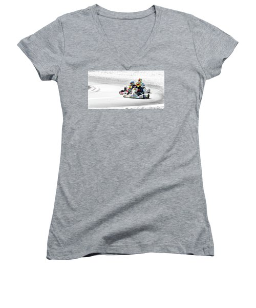 Wingham Go Karts 04 Women's V-Neck T-Shirt (Junior Cut) by Kevin Chippindall