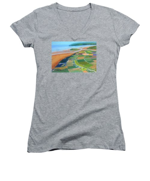 Wings Over Grand Pre' Women's V-Neck T-Shirt (Junior Cut) by Rae  Smith