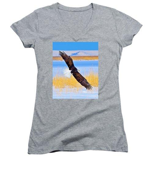 Wingspan Women's V-Neck T-Shirt (Junior Cut) by Greg Norrell