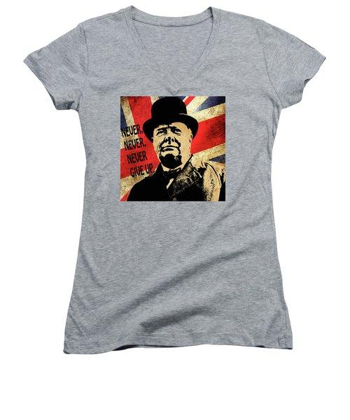 Winston Churchill 2 Women's V-Neck
