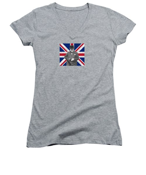 Winston Churchill And His Flag Women's V-Neck T-Shirt (Junior Cut) by War Is Hell Store