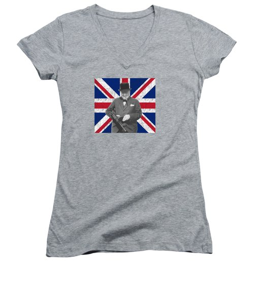 Winston Churchill And His Flag Women's V-Neck (Athletic Fit)