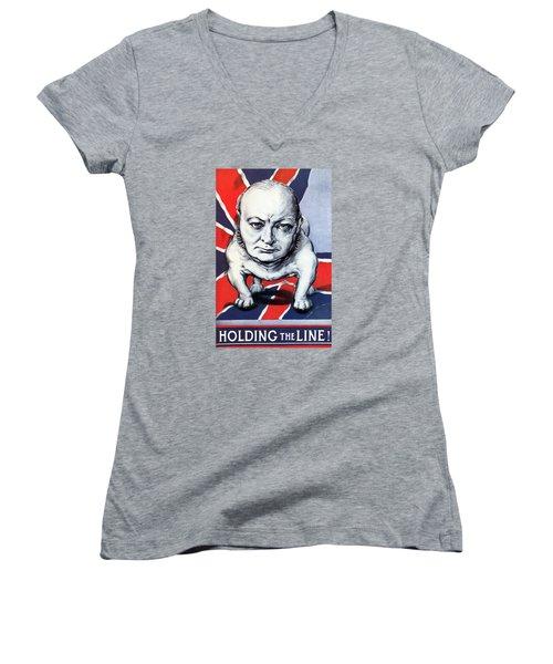 Winston Churchill Holding The Line Women's V-Neck