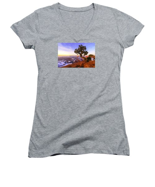 Winter At Dead Horse Women's V-Neck T-Shirt (Junior Cut) by Chad Dutson