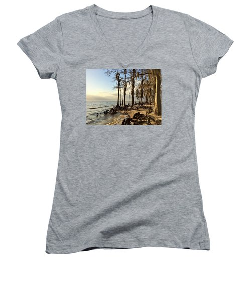 Winter At Fontainebleau State Park, Lake Pontchartrain, La Women's V-Neck T-Shirt