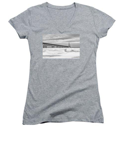 Women's V-Neck T-Shirt (Junior Cut) featuring the photograph Winter At Mackinac Bridge by John McGraw