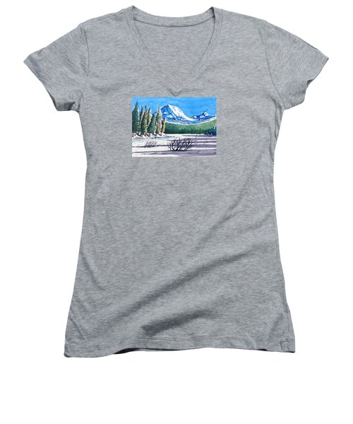 Women's V-Neck T-Shirt (Junior Cut) featuring the painting Winter At Mt. Lassen by Terry Banderas