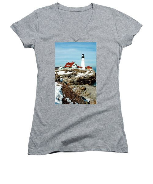 Winter At Portland Head Women's V-Neck T-Shirt (Junior Cut) by Greg Fortier