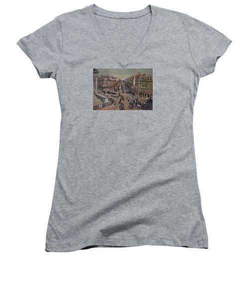 Winter At The Boulevard De La Madeleine, Paris Women's V-Neck T-Shirt (Junior Cut) by Nop Briex