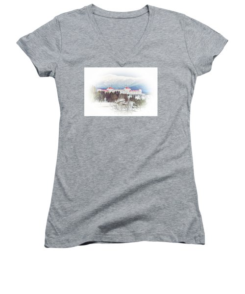 Winter At The Mt Washington Hotel 2 Women's V-Neck (Athletic Fit)