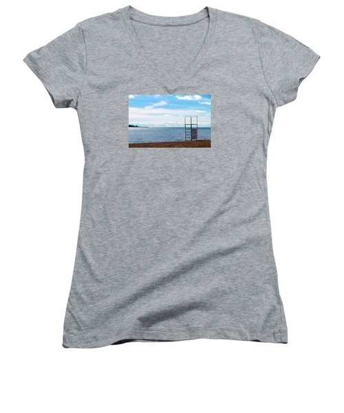 Women's V-Neck T-Shirt (Junior Cut) featuring the photograph Winter Beach by Valentino Visentini