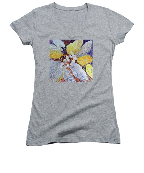 Women's V-Neck T-Shirt (Junior Cut) featuring the painting Winter Berries by Joanne Smoley