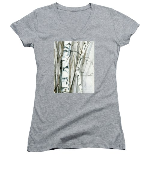 Winter Birch Women's V-Neck T-Shirt (Junior Cut) by Laurie Rohner